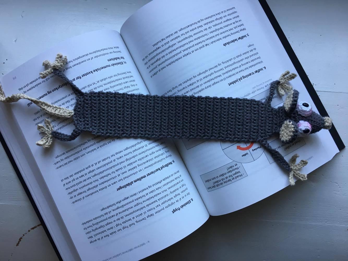 Hæklet Rotte som bogmærke