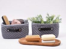 Lille opbevaringskurv med læderbund - Rektangulær